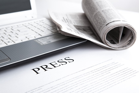 Photo for laptop, newspaper office and text press - Royalty Free Image