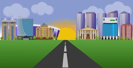 Illustration pour Flat vector cartoon style illustration urban landscape street with skyline city - image libre de droit