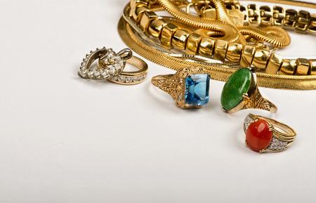 Foto de Scrap gold jewelry with room for your store advertisement. - Imagen libre de derechos