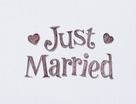 Photo pour Just married on white art board with room for your type. - image libre de droit
