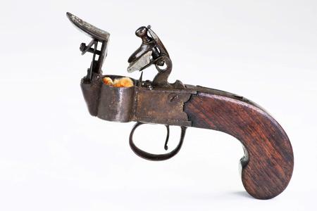Foto de Antique English flintlock fire starter made around 1790-1800, before first  wood match stick which was made in 1826. - Imagen libre de derechos