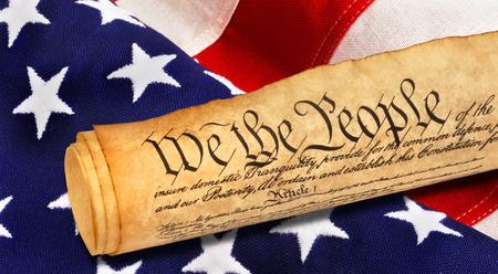 Foto de We the People with American flag. - Imagen libre de derechos