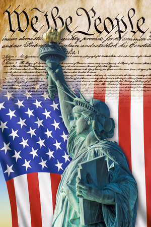 Photo for We the People with American flag and Statue of Liberty. - Royalty Free Image