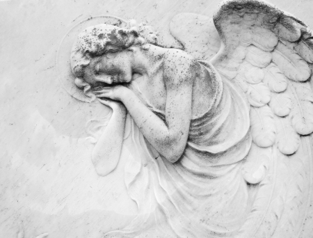 Photo for sleeping angel - antique decoration on tombstone, monumental cemetery San Michele, Venice ,Italy, Europe  - Royalty Free Image