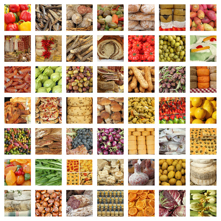 quality italian food collection - group of images from fresh tuscan daily market