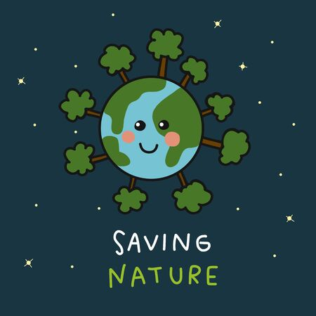 Illustration pour Earth smile around with tree saving nature cartoon vector illustration - image libre de droit