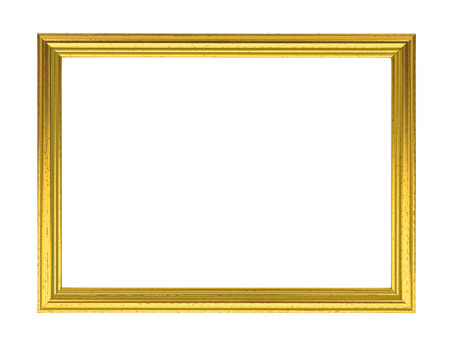 Photo pour Golden decorative empty picture frame isolated on white background - image libre de droit