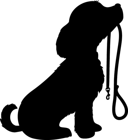 Photo for A black silhouette of a sitting dog holding it s leash in it s mouth, patiently waiting to go for a walk  - Royalty Free Image
