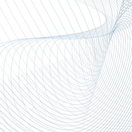 Ilustración de Abstract vector wiggly waveforms. Technician background, curved intersecting blue, gray lines on white. Line art futuristic design. Energy, power concept, waving pattern. Modern grid wallpaper - Imagen libre de derechos