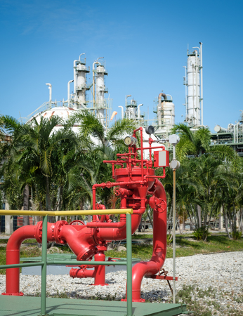 Photo pour the red hydrant monitor stand for petrochemical plant emergency - image libre de droit