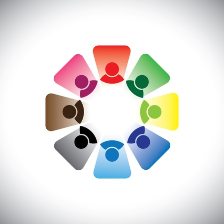 Colorful multi-ethnic corporate workers team- graphic. This illustration can also represent concept group of employees in team meeting or group discussion, etc