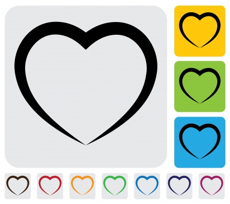 abstract human heart(love) icon(symbol)- simple graphic. This illustration has the heart icon on grey, green, orange and blue backgrounds & useful for websites, documents, printing, etc
