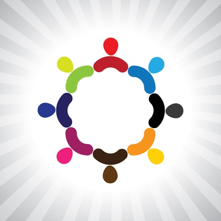 Illustration for colorful community of people as a circle- simple graphic. This illustration can also represent children playing, kids having fun, employee meeting, workers unity & diversity, abstract people - Royalty Free Image