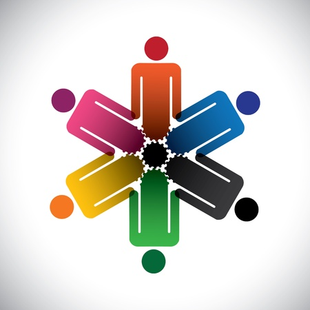 Ilustración de colorful abstract people community as cog wheels- simple graphic. This illustration can also represent social media concept of interdependent community of people working together    - Imagen libre de derechos