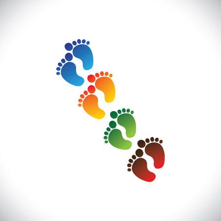 Ilustración de baby's or toddler's colorful foot step pairs for kindergarten  - Imagen libre de derechos