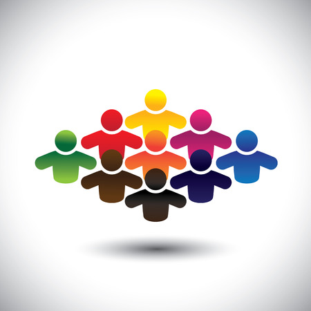 Ilustración de abstract colorful group of people or students or children - concept vector. The graphic also represents people icons in various colors forming a community of workers, employees or executives - Imagen libre de derechos