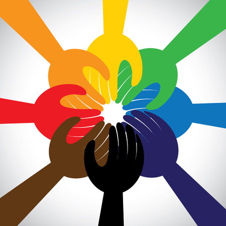 Illustration pour group of hands taking pledge, promise or vow - concept vector icon. This graphic in circle also represents unity, solidarity, teamwork, commitment, people friendship - image libre de droit