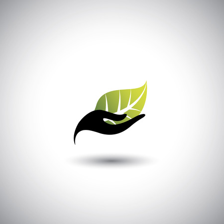 Illustration for hand & leaf - nature conservation or spa concept vector. The graphic illustration also represents protecting natural resources, organic products, wellness industry, alternative health - Royalty Free Image