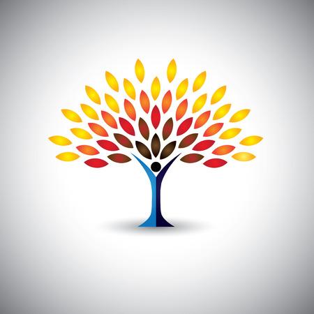 Ilustración de colorful people tree - eco lifestyle concept vector. This graphic also represents harmony, nature conservation, sustainable development, natural balance, development, healthy growth - Imagen libre de derechos