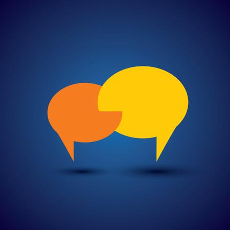 Ilustración de chat or talk symbol or speech bubble - concept vector. This also represents intimate relationship, deep communication, love talk, discussion, open dialogue, close interaction - Imagen libre de derechos