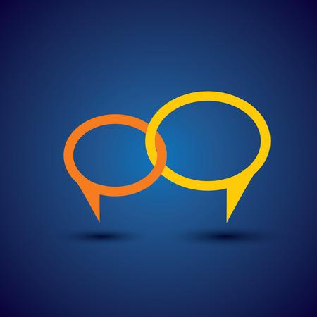 Ilustración de chat or talk symbol or speech bubble - concept vector line icon. This also represents intimate relationship, deep communication, love talk, discussion, open dialogue, close interaction - Imagen libre de derechos