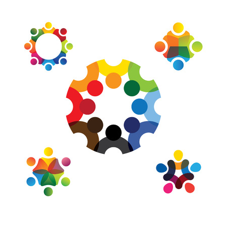 Illustration for collection of people icons in circle - vector concept engagement, togetherness. this also represents social media community, leader & leadership, unity, friendship, play group, employees & meeting - Royalty Free Image
