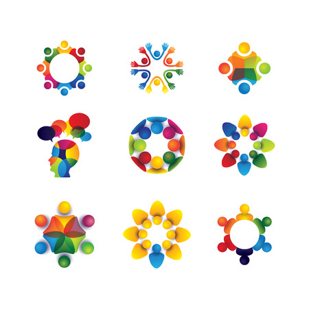 Illustration pour collection of people icons in circle - vector concept unity, solidarity. this also represents social media community, leader & leadership, togetherness, friendship, play group, fun & happiness - image libre de droit
