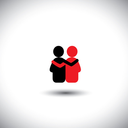 Illustration pour friends hug each other, deep relationship & bonding - vector icon. This also represents reunion, sharing, love, emotions, human touch, friendly embrace, support, care, kindness, empathy, compassion - image libre de droit