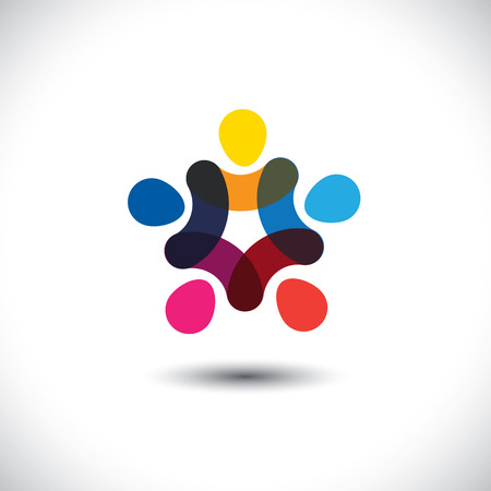 Ilustración de Concept of community unity, solidarity & friendship - vector graphic. This logo template also represents colorful kids playing together holding hands in circles, union of workers, employees meeting - Imagen libre de derechos