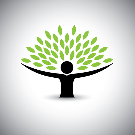 Ilustración de people embracing tree or nature - eco lifestyle concept vector.  - Imagen libre de derechos