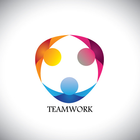 Illustration pour abstract people team & teamwork - vector icon. this icon can also represent friends together, employees union, kids or children playing, unity, diversity - image libre de droit