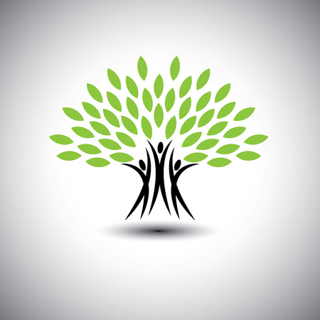 Illustration for happy, joyous people as trees of life - eco concept vector icon. This graphic also represents harmony, joy, happiness, friendship, education, peace, development, healthy growth, sustainability - Royalty Free Image