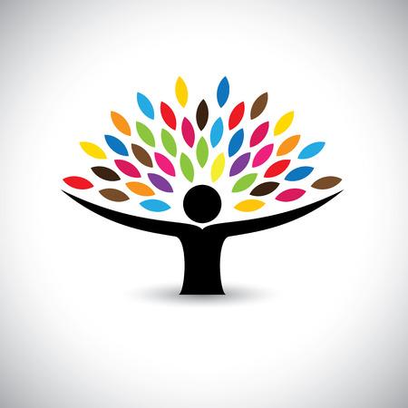 Ilustración de people embracing tree or nature - eco lifestyle concept vector. This graphic also represents harmony, nature conservation, sustainable development, natural balance, development, healthy growth - Imagen libre de derechos