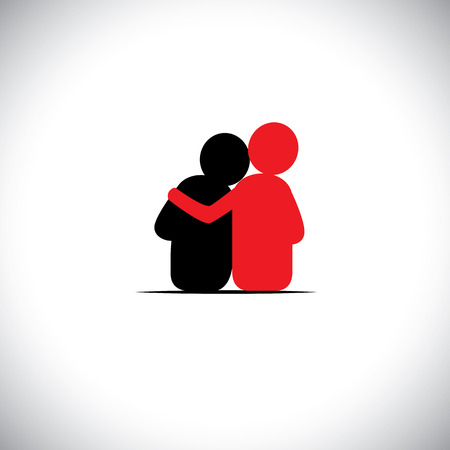 Illustration for set of friendship, dependence, empathy, bonding - vector icons. this also represents concepts like responsibility, concern, care, together, sympathy, trust, faith, hope & expectation, assurance - Royalty Free Image
