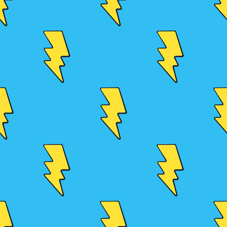 Ilustración de Vector illustration. Seamless pattern with cute yellow electric lightning bolts at pop art style on blue background. Weather symbol. Pattern with contour - Imagen libre de derechos