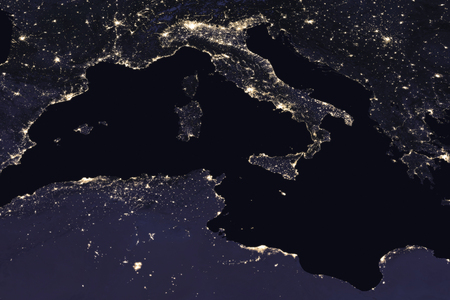 Photo for Italy night view from space. Elements of this image furnished by NASA . - Royalty Free Image