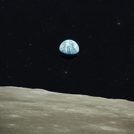 Foto de Earth view from moon. Elements of this image furnished by NASA. - Imagen libre de derechos