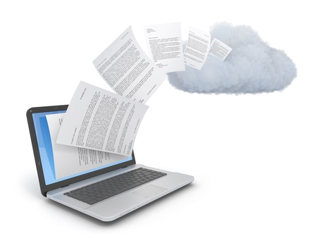 Photo pour Transferring documents or data to a cloud network server. - image libre de droit