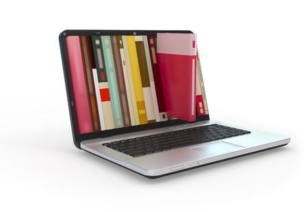 Photo pour Digital library e-books in laptop computer. - image libre de droit
