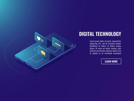 Foto für Web application and social media network icons, isometric vector mobile mesanger neon ultraviolet background - Lizenzfreies Bild
