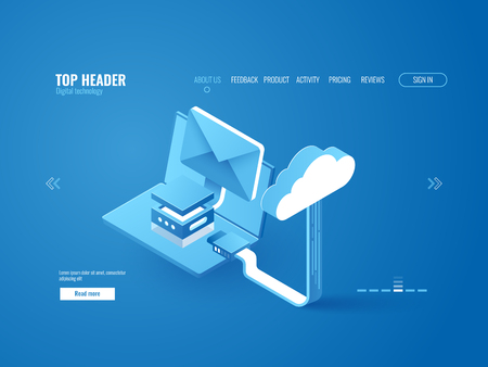 Illustration pour Cloud storage connection data upload and download, laptop with email envelop, server room icon, data center warehouse web site page template isometric vector - image libre de droit