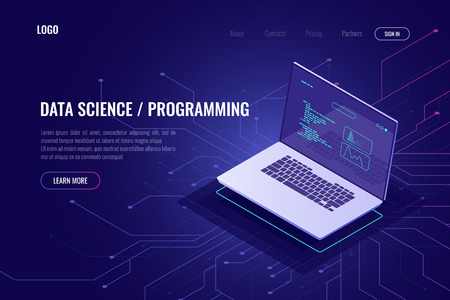 Illustrazione per Programming and software development web page banner isometric icon, laptop pc with program code on screen, data statistic and analysis abstract concept, micro scheme, ultraviolet - Immagini Royalty Free