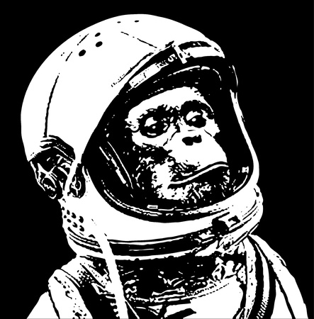 chimp in space stencil art
