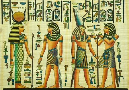 Photo for Egyptian papyrus painting with elements of Egyptian ancient history - Royalty Free Image