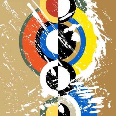 Ilustración de abstract circle background, retro/vintage style with paint strokes and splashes, grungy - Imagen libre de derechos