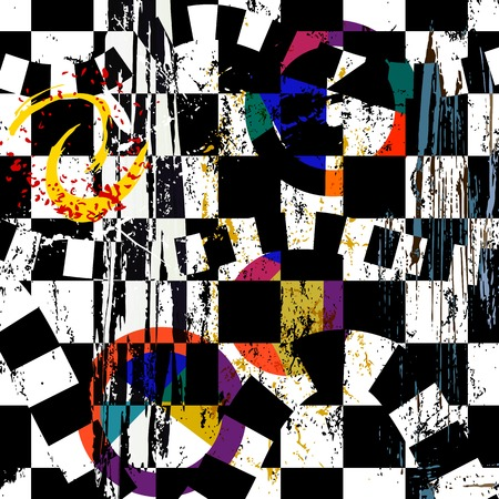 Illustration for abstract background composition, with strokes, splashes and circles, black and white - Royalty Free Image