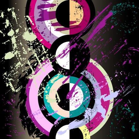 Photo pour abstract circle background, retro/vintage style with paint strokes and splashes - image libre de droit
