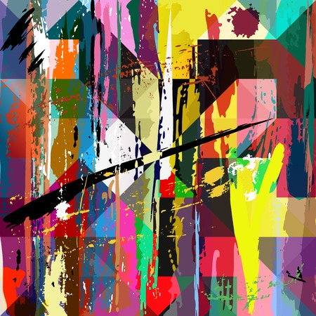 Illustration pour abstract background, with paint strokes, splashes and squares/triangles - image libre de droit