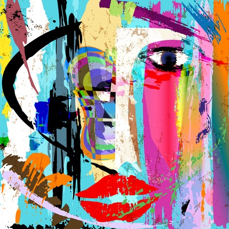 Illustration for abstract background composition, with paint strokes and splashes, face/mask - Royalty Free Image