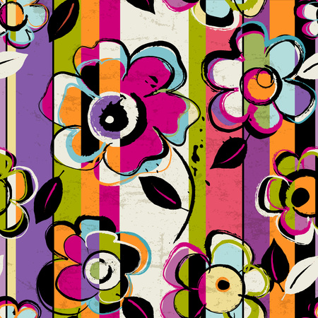 Illustration for seamless abstract background composition, with paint strokes, splashes and flowers, seamless - Royalty Free Image